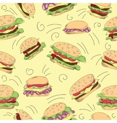 Fast food hamburger doodle set vector