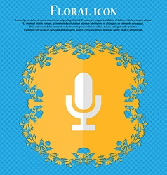 Microphone floral flat design on a blue abstract vector