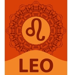 Leo lion zodiac icon with mandala print vector