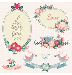 Vintage floral set hand drawn wedding collection vector