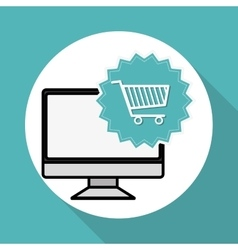 Shopping cart and computer design vector