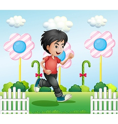 A young gentleman running vector image vector image
