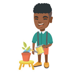 african boy watering plant with a watering can vector image vector image