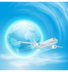 airplane in the sky with the globe vector image vector image