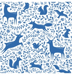 Blue Christmas forest pattern vector image vector image