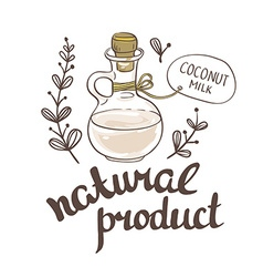 Bottle with coconut milk hand drawn vector
