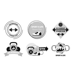 cartoon silhouette black fitness badges or labels vector image