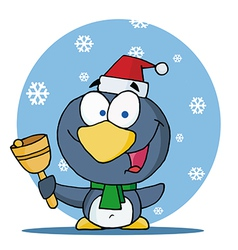 Christmas penguin bell ringer in the snow vector
