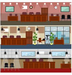 Courtroom interior concept flat poster set vector
