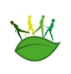 Ecology people walk icon vector