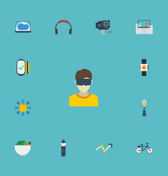Flat icons laptop bicycle camera and other vector