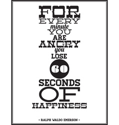 For every minute youre angry you lose 60 seconds vector image