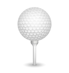 Golf realistic ball on a tee vector