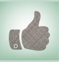 hand sign brown flax icon on vector image