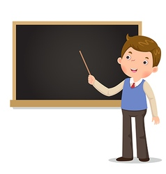 Male teacher standing in front of blackboard with vector
