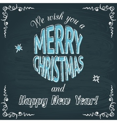 Merry christmas chalkboard greeting card vector