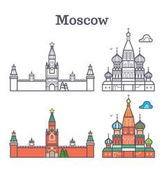 moscow linear russia landmark soviet buildings vector image