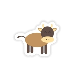 Paper sticker on white background cow cartoon vector