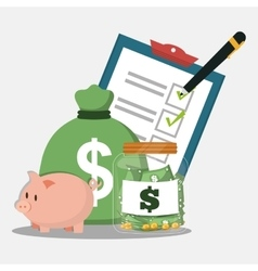 Piggy bag money accounting pencil vector