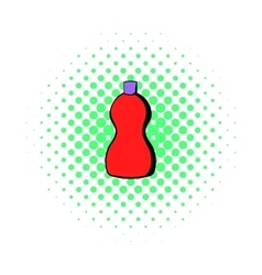 Red plastic bottle of detergent icon comics style vector