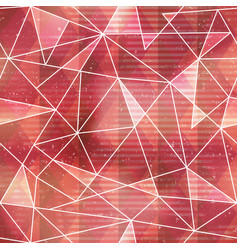 Red triangle seamless pattern with grunge effect vector