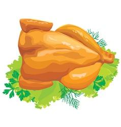 Roast chicken with herbs vector