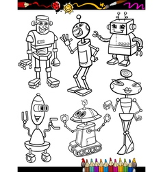 Robots Cartoon Set for coloring book vector image
