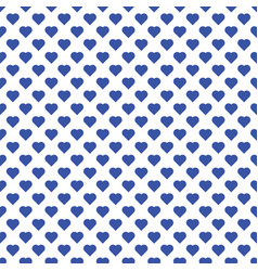 seamless pattern of small blue hearts on white vector image vector image