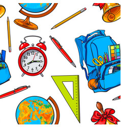 seamless pattern with school items backpack vector image