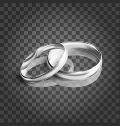 silver wedding rings on transparent background vector image