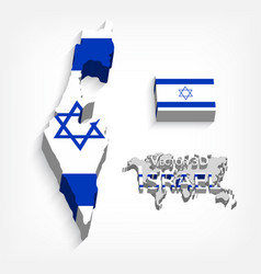 State of israel 3d flag and map vector