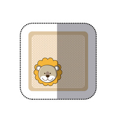 sticker colorful greeting card with picture lion vector image