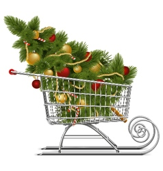 Supermarket Sled with Christmas Tree vector image vector image