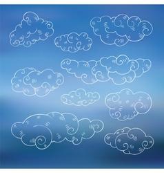 Vintage clouds set vector image