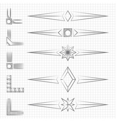 vintage thin line shapes and corners collection vector image