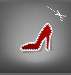 Woman shoe sign red icon with for vector