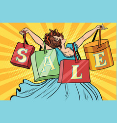 woman with sale bags shopping vector image vector image