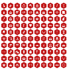 100 crown icons hexagon red vector