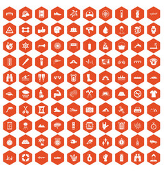 100 rafting icons hexagon orange vector