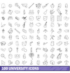 100 university icons set outline style vector