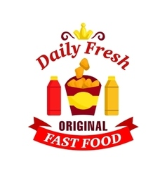 Daily fresh original fast food label vector