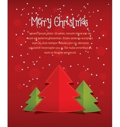 Merry christmass card with text red vector