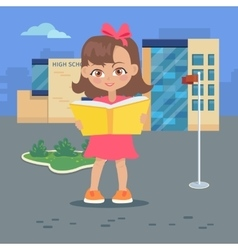 Girl reads book near high school building isolated vector