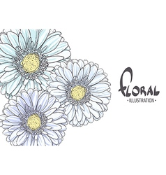 Bright blue gerbera vector