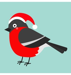 Bullfinch winter red feather bird Santa hat Cute vector image