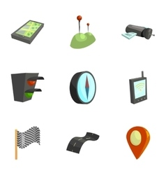 Location position icons set cartoon style vector image