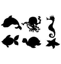 Silhouettes of the different sea creatures vector