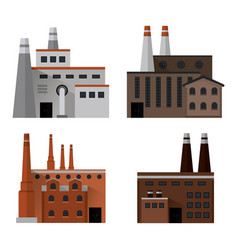 Plant set building chimney factory industry icon vector