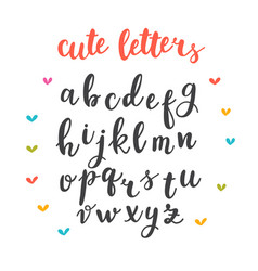 Cute letters hand drawn calligraphic font vector