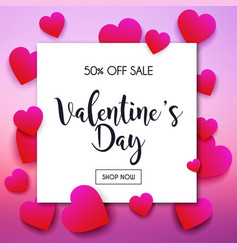 Valentines day sale banner in a frame poster vector